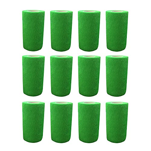 Cohesive Bandage - 12 Rolls x 10cm x 4.5m First Aid Sports Wrap Bandages,COBOX Pet Vet Wrap Self Adherent Cohesive Bandages (green) from COBOX