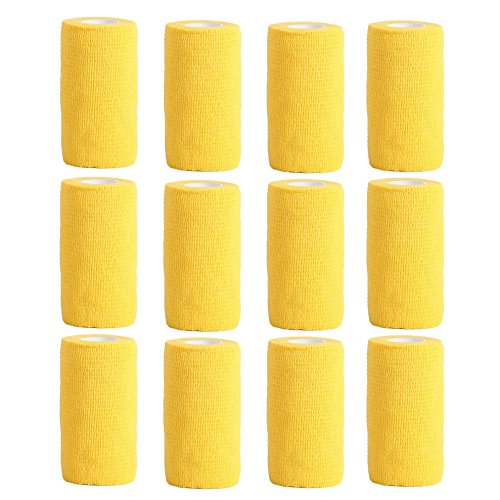 Cohesive Bandage - 12 Rolls x 10cm x 4.5m First Aid Sports Wrap Bandages,COBOX Pet Vet Wrap Self Adherent Cohesive Bandages (yellow) from COBOX
