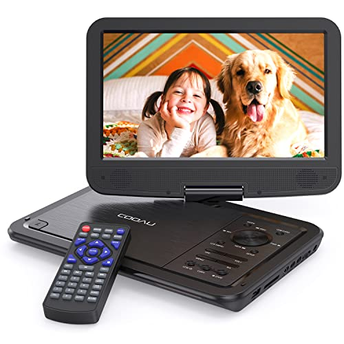 "COOAU 12.5"" Portable DVD Player, High-Brightness Swivel Screen, Supports All Region, AV-in/AV-out/SD/USB/CD/DVD, 5-Hours Rechargeable Battery, Remote Controller, Black from COOAU"