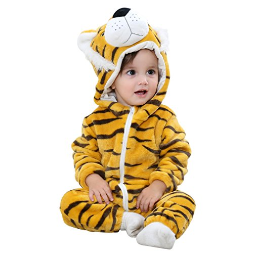 COOKY.D Infant Hooded Baby Rompers Animal Jumpsuit Soft Flannel Winter Cosplay Costume for Baby Girls Boys, 6-12 Months, Tiger from COOKY.D