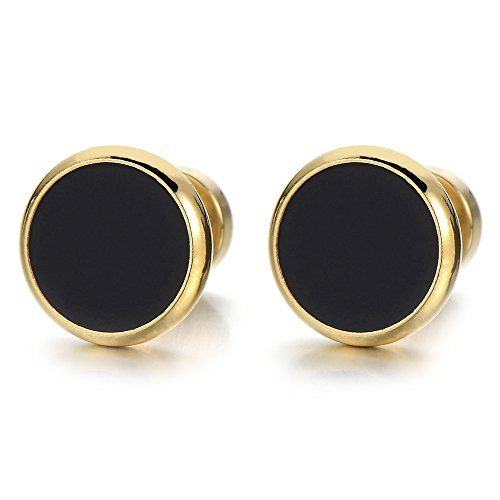 10MM Mens Womens Gold Black Stud Earrings Stainless Steel Illusion Tunnel Plug Screw Back, 2pcs from COOLSTEELANDBEYOND