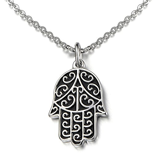 Hamsa Hand of Fatima Pendant Necklace Stainless Steel Silver Black Two -Tone with 20 inches Chain from COOLSTEELANDBEYOND