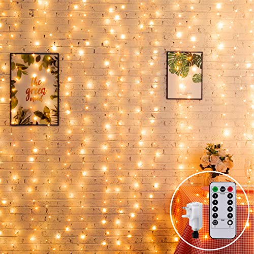 2M x 2M Curtain Light Plug in Linkable Window Curtain Light Indoor Fairy Lights for Room Waterfall Icicle Fairy Lights,204 LED,8Mode for Xmas Party Decoration(Warm White) from CORST