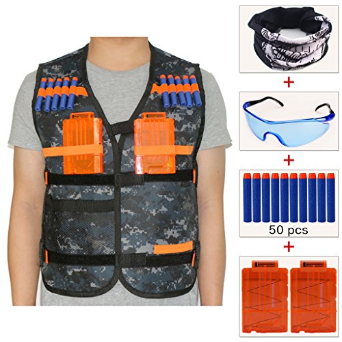 COSORO Kids Camouflage Tactical Vest Jacket Kit (comes with Skull Face Mask + Protective Goggles + 50pcs Darts Bullets + 2pcs 5-dart Quick Reload Clip) for Nerf Guns N-strike Elite Series from COSORO