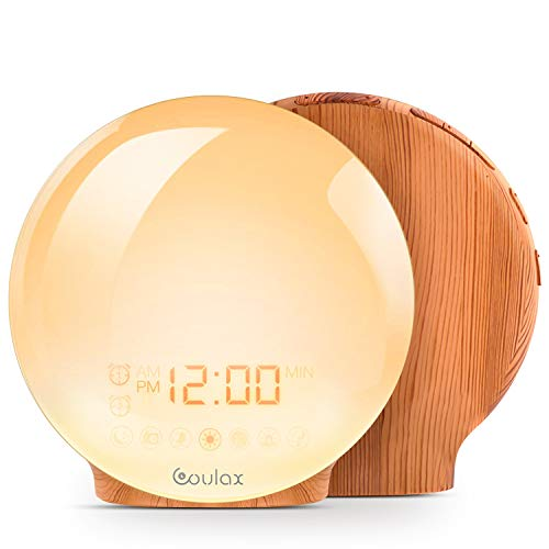 COULAX Wake Up Light 2019 Latest Wood Grain Sunrise Alarm Clock Sunset Simulation Night Light with Nature Sounds, FM Radio, Snooze Function and Atmosphere Lamp Function from COULAX