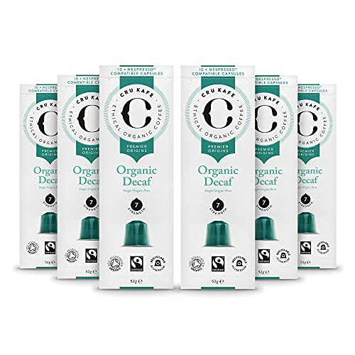 CRU Kafe Organic Nespresso Compatible Coffee Capsules, Single Origin Decaf (6 Boxes, Total 60 Pods) from CRU Kafe