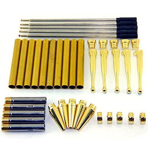 Woodturning Fancy Slimline Pen Kit Set x 5, Gold Finish, Twist Mechanism from CS Crafts