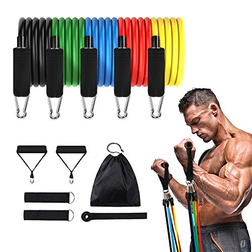 CUXUS 11 pcs Resistance Band Set,with 5 Exercise Bands,Door Anchor,Foam Handles,Ankle Straps and Waterproof Carrying Case, For Resistance Training, Physical Therapy, Home Gyms Workouts Fitness Yoga from CUXUS