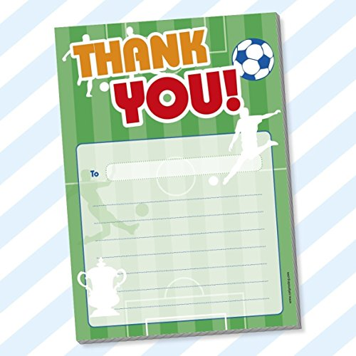 THANK YOU PAD Childrens Kids Birthday Party Pack Blank Boys Girls (Football 2) (With Envelopes, Football 2) from CYDPrinting