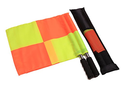 CZ-XING Waterproof Referee Soccer Flag Football Training Linesman Flag Set Metal Pole Foam Handle with Carring Tote - Orange/Yellow (typeB) from CZ-XING