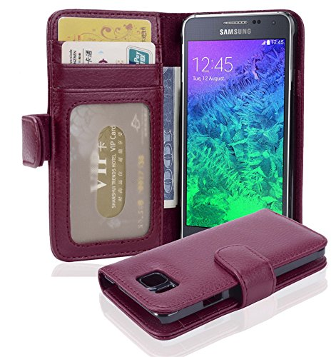 Cadorabo Book Case works with Samsung Galaxy ALPHA in BORDEAUX PURPLE - with Magnetic Closure and 3 Card Slots - Wallet Etui Cover Pouch PU Leather Flip from Cadorabo