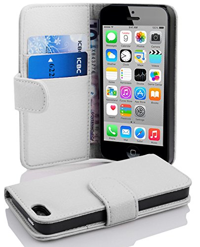 Cadorabo Book Case works with Apple iPhone 5C in SNOW WHITE - with Stand Function and Card Slot made of Structured Faux Leather - Wallet Etui Cover Pouch PU Leather Flip from Cadorabo