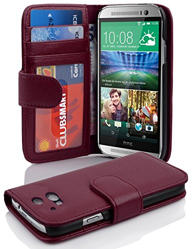 Cadorabo Book Case works with HTC ONE M8 (2. Gen.) in BORDEAUX PURPLE - with Magnetic Closure and 3 Card Slots - Wallet Etui Cover Pouch PU Leather Flip from Cadorabo