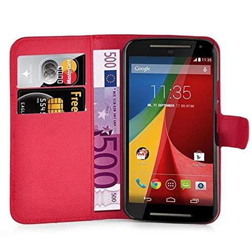 Cadorabo Book Case works with Motorola MOTO G2 in CANDY APPLE RED - with Magnetic Closure, Stand Function and Card Slot - Wallet Etui Cover Pouch PU Leather Flip from Cadorabo