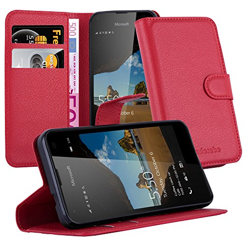 Cadorabo Book Case works with Nokia Lumia 550 in CANDY APPLE RED - with Magnetic Closure, Stand Function and Card Slot - Wallet Etui Cover Pouch PU Leather Flip from Cadorabo
