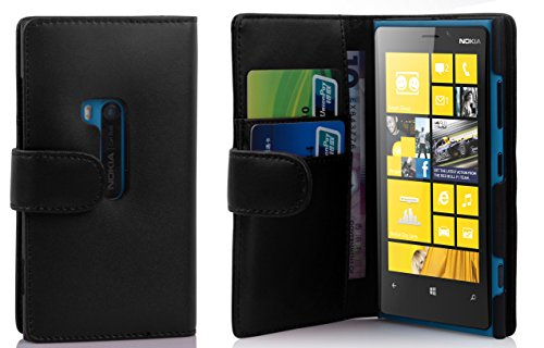 Cadorabo Book Case works with Nokia Lumia 920 in OXID BLACK - with Stand Function and Card Slot made of Smooth Faux Leather - Wallet Etui Cover Pouch PU Leather Flip from Cadorabo