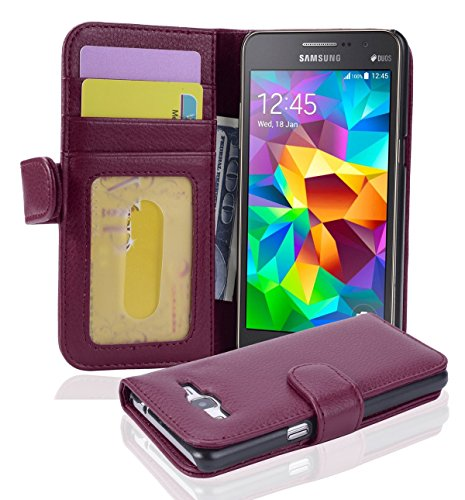 Cadorabo Book Case works with Samsung Galaxy GRAND PRIME in BORDEAUX PURPLE - with Magnetic Closure and 3 Card Slots - Wallet Etui Cover Pouch PU Leather Flip from Cadorabo