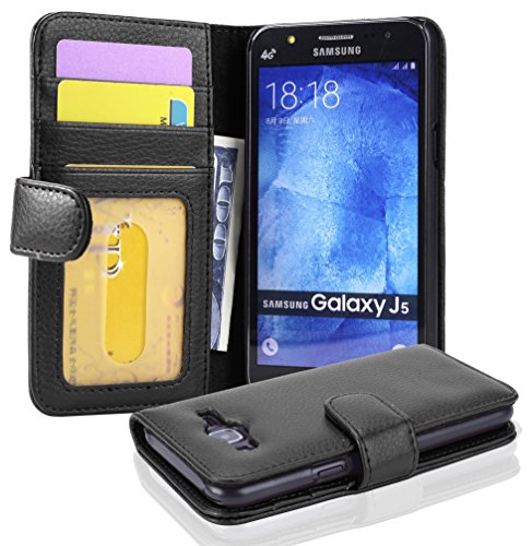 Cadorabo Book Case works with Samsung Galaxy J5 2015 in MIDNIGHT BLACK - with Magnetic Closure and 3 Card Slots - Wallet Etui Cover Pouch PU Leather Flip from Cadorabo