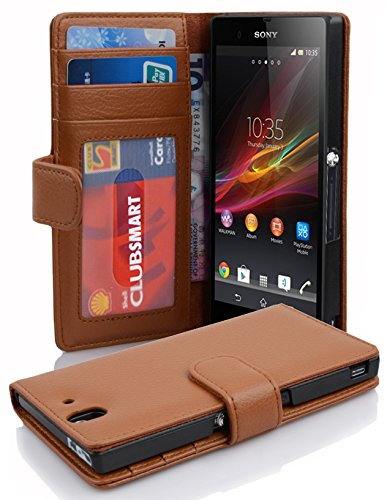 Cadorabo Book Case works with Sony Xperia Z in COGNAC BROWN - with Magnetic Closure and 3 Card Slots - Wallet Etui Cover Pouch PU Leather Flip from Cadorabo
