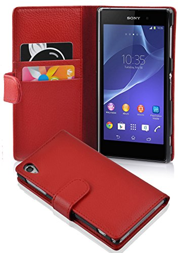 Cadorabo Book Case works with Sony Xperia Z2 in CANDY APPLE RED - with Stand Function and Card Slot made of Structured Faux Leather - Wallet Etui Cover Pouch PU Leather Flip from Cadorabo