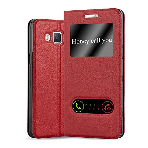 Cadorabo Book Case works with Samsung Galaxy A5 2015 in SAFFRON RED - with Magnetic Closure, 2 Viewing Windows and Stand Function - Wallet Etui Cover Pouch PU Leather Flip from Cadorabo