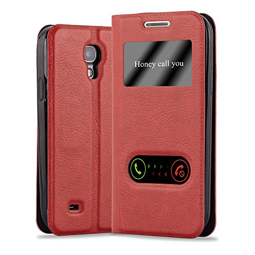 Cadorabo Book Case works with Samsung Galaxy S4 in SAFFRON RED - with Magnetic Closure, 2 Viewing Windows and Stand Function - Wallet Etui Cover Pouch PU Leather Flip from Cadorabo