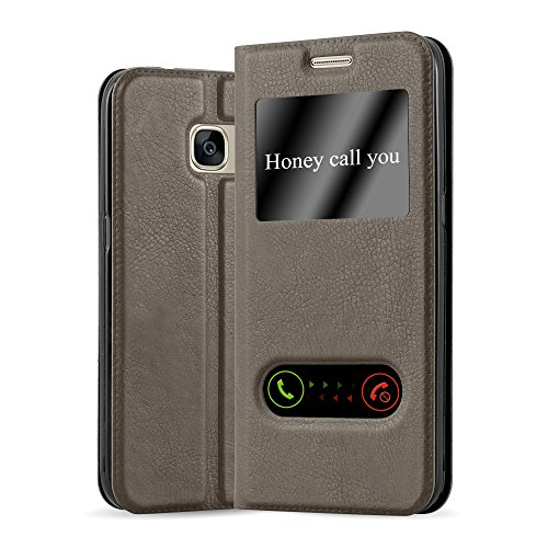 Cadorabo Book Case works with Samsung Galaxy S7 in STONE BROWN - with Magnetic Closure, 2 Viewing Windows and Stand Function - Wallet Etui Cover Pouch PU Leather Flip from Cadorabo