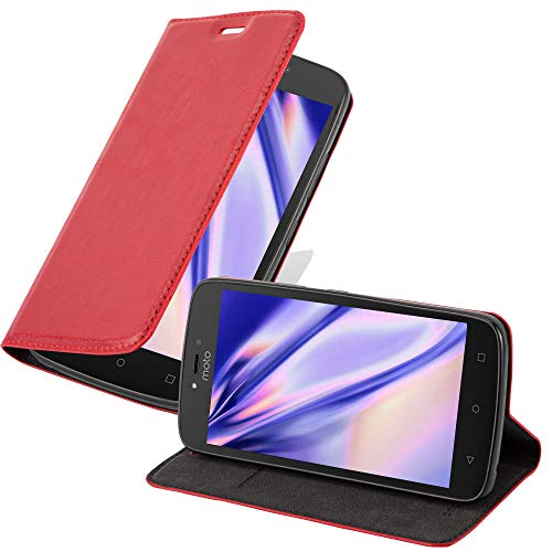 Cadorabo Book Case works with Motorola MOTO C PLUS in APPLE RED - with Magnetic Closure, Stand Function and Card Slot - Wallet Etui Cover Pouch PU Leather Flip from Cadorabo