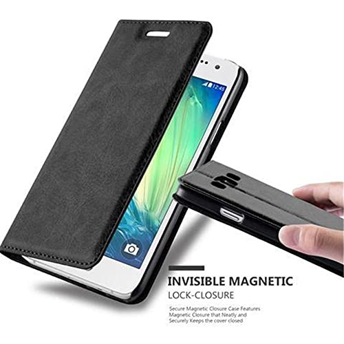 Cadorabo Book Case works with Samsung Galaxy A3 2015 in NIGHT BLACK - with Magnetic Closure, Stand Function and Card Slot - Wallet Etui Cover Pouch PU Leather Flip from Cadorabo