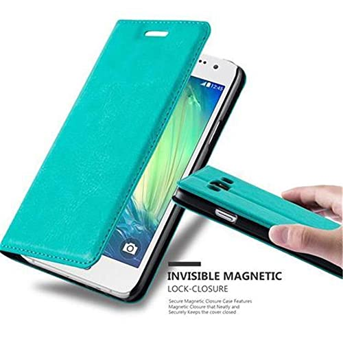 Cadorabo Book Case works with Samsung Galaxy A3 2015 in PETROL TURQUOISE - with Magnetic Closure, Stand Function and Card Slot - Wallet Etui Cover Pouch PU Leather Flip from Cadorabo