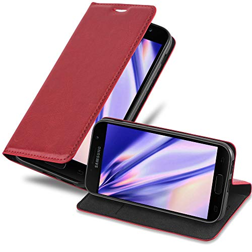 Cadorabo Book Case works with Samsung Galaxy A7 2017 in APPLE RED - with Magnetic Closure, Stand Function and Card Slot - Wallet Etui Cover Pouch PU Leather Flip from Cadorabo