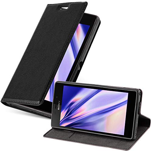 Cadorabo Book Case works with Sony Xperia M2 / M2 Aqua in NIGHT BLACK - with Magnetic Closure, Stand Function and Card Slot - Wallet Etui Cover Pouch PU Leather Flip from Cadorabo