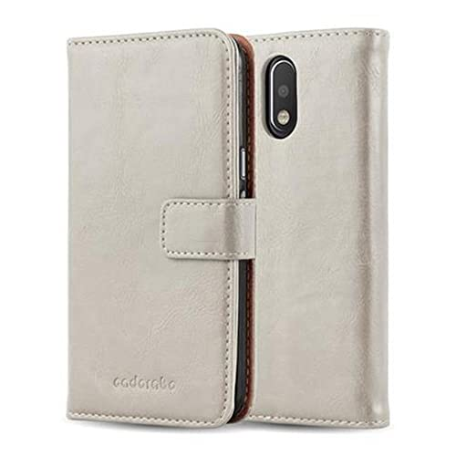 Cadorabo Book Case works with Motorola MOTO G4 / MOTO G4 PLUS in CAPPUCCINO BROWN - with Magnetic Closure, Stand Function and Card Slot - Wallet Etui Cover Pouch PU Leather Flip from Cadorabo