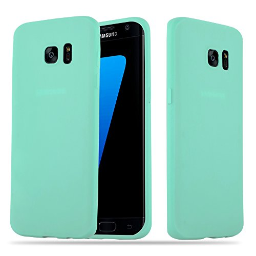 Cadorabo Case works with Samsung Galaxy S7 EDGE in CANDY BLUE - Shockproof and Scratch Resistant TPU Silicone Cover - Ultra Slim Protective Gel Shell Bumper Back Skin from Cadorabo