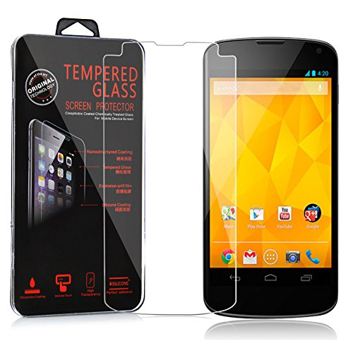 Cadorabo Tempered Glass works with LG Google Nexus 4 in HIGH TRANSPARENCY - Screen Protection 3D Touch Compatible with 9H Hardness - Bulletproof Display Saver from Cadorabo