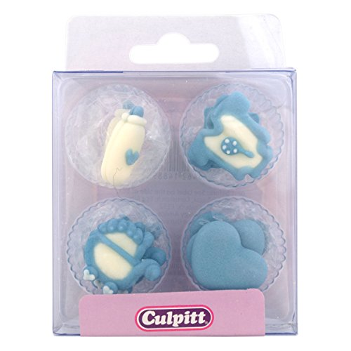 Culpitt Sugar Cake Decorations Blue Baby Shapes from Cake Decorations