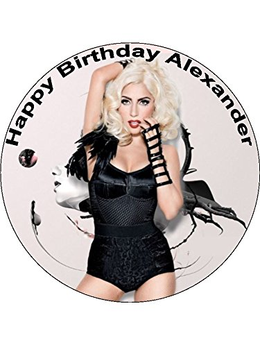 7.5 Lady Gaga Ga Ga Personalised Edible Icing Birthday Cake Topper from CakeThat
