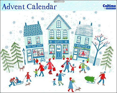 Caltime Traditional Christmas Shopper Snow and Sledges Advent Calendar 35 cm x 24.5 cm Glitter varnished with white envelope from Caltime