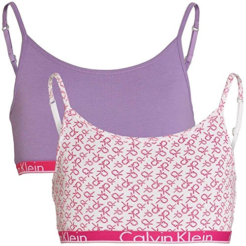 Calvin Klein Girls 2 Pack Modern Cotton String Bralette, White Logo Print/Chalk Violet White Logo Print/Chalk Violet Large - Age 10-12 from Calvin Klein