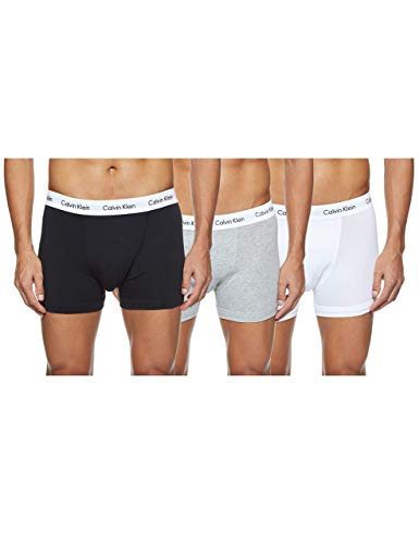 Calvin Klein Men's - 3 Pack Medium Rise Trunks - Cotton Stretch, Multicolour (Black/White/Grey Heather), M, (Pack of 3) from Calvin Klein