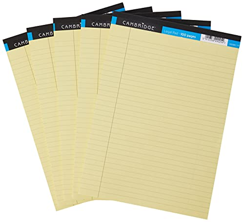 Cambridge A4 Legal Pad, Ruled with Margin, 100 Page, Yellow, Pack of 5 from Cambridge