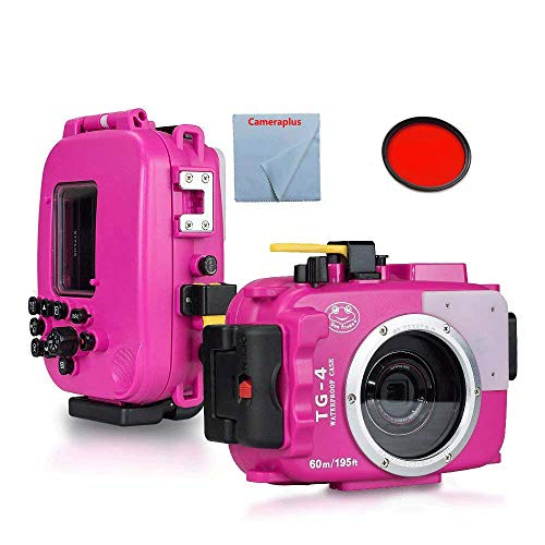 CameraPlus - Sea frogs Waterproof Diving Underwater Housing Case + Red Filter For Olympus TG-3/TG-4 (PINK) Lens Up To 60 Meters(195ft.) from CameraPlus