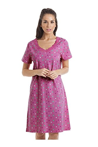 Camille and Print Smooth Soft Cotton Summer Nightdresses 10 12 Pink Star  from Camille e30dbf073
