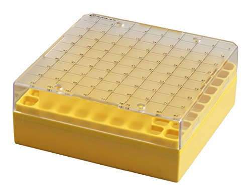 Camlab Plastics RTP//76001-N 81 Place Polypropylene Maxicold Racks and Lid Pack of 5 Natural