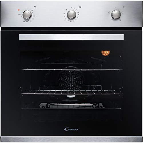 Candy FCP403X Oven Single Fan Stainless Steel A Energy Rating 4 Functions 65 Litre Capacity Minute Minder Rotary Controls Double Glazed Door from Candy