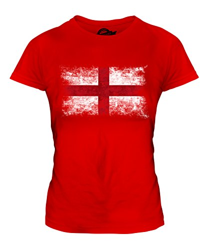 Candymix - England St George Distressed Flag - Ladies Fitted T Shirt Top T-Shirt, Size Large, Colour Red from Candymix