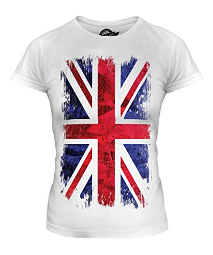 Candymix - Great Britain Union Jack Grunge Flag - Ladies Fitted T Shirt Top T-Shirt, Size X-Large, Colour White from Candymix