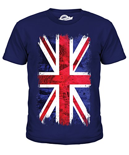 Candymix Great Britain Union Jack Grunge Flag Unisex Kids T Shirt Boys/Girls/Toddler/Children T-Shirt, Age 12, Colour Navy from Candymix