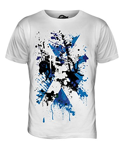 Scotland Flag Abstract Print Mens T-Shirt Top, Size Large, Colour Mint White from Candymix