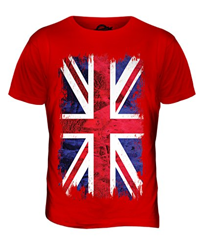 Union Jack Grunge Flag - Mens T-Shirt Top, Size X-Large, Colour Strawberry Lace from Candymix